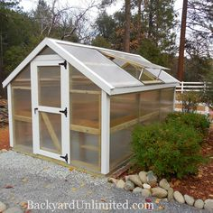 10'x12' Greenhouse with standard 8mm polycarbonate & 50-year trim and optional potting bench and plant tables--Foresthill, California http://www.backyardunlimited.com/greenhouses.php