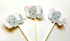 Elephant Cupcake Toppers, Chevron Elephant Cupcake Toppers by CraftyCue on Etsy