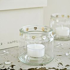 Glass Jars With Heart Buttons