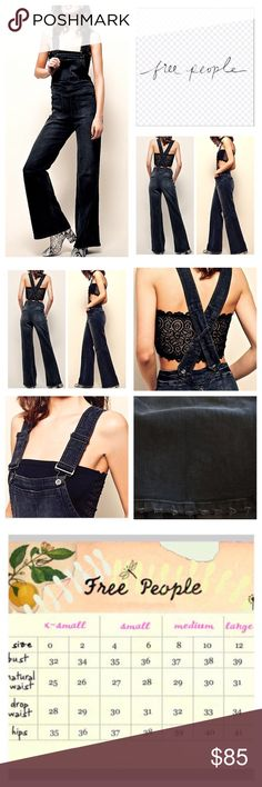 "🆕Free People Teague Retro Denim Overalls.  NWOT. 🆕Free People Washed Black Teague Retro Denim Overalls, 98% cotton, 2% spandex, machine washable, 30"" waist, 12.5"" front rise, 15.5"" back rise, 32.5"" inseam, 61"" length from strap to hem, 22"" leg opening all around, made from stretchy/gummy fabric, retro inspired, flared leg and front back slip pockets, front bib pocket, two back pockets, fading, distressed areas, hidden side zip button closure, adjustable straps, frayed hem, measurements are…"