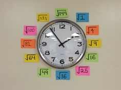 "Use your classroom clock as an ""anchor chart"" for quick square root reference"