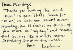 A letter to Monday