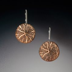 Abstract Starfish Earrings in Bronze and Sterling Silver Handmade | Bracken Designs Studio Art Jewelry