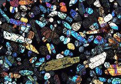 Meteorite in thin section.