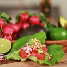Haylie Duff stopped by POPSUGAR Food to spread the good word about her vegan-friendly watermelon taco recipe. Paired with crunchy radish and creamy avocado, these watermelon tacos are a light and refreshing take on classic Mexican fare. Watermelon Radish, Watermelon Recipes, Lettuce Wrap Recipes, Lettuce Wraps, Lettuce Tacos, Lettuce Leaves, Gluten Free Appetizers, Appetizer Recipes, Avocado Wrap
