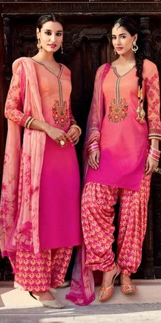 Charming Peach And Multi-Color Cotton Salwar Suit With Dupatta.