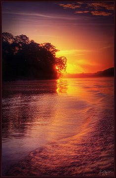 Sunset in river Amazonas, Brazil. <3