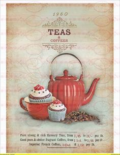 Bügelbild A4 Tee Kanne Cupcake Hammer Preiß