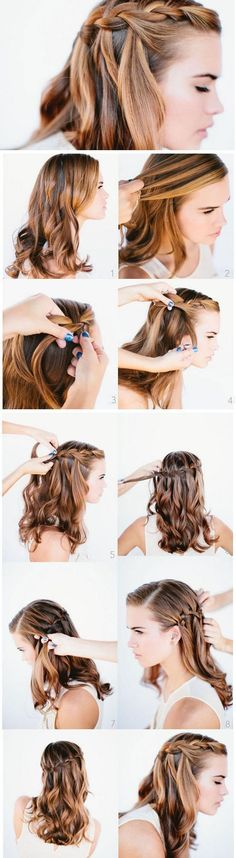 Waterfall Braid | DIY Heatless Hairstyles for Long Hair that will take you from day to night