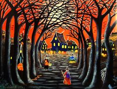 Halloween art print Home to Broomtree  20 by ChristineAltmannArt, $24.99