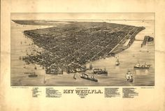 1884 Key West FLORIDA  Island View Boats Atlantic by StoneyPrints, $15.00