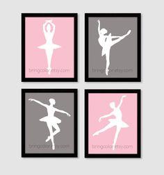 Satz von 4 Ballerina Silhouette Tänzer für Mädchen von BringColor