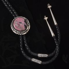 Rhodochrosite Double Stacked Bezel Bolo - Bolo Ties - National Cowboy Museum