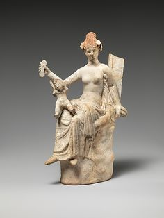 Terracotta statuette of Aphrodite and Eros.Hellenistic,3rd century BC  Greek,South Italian
