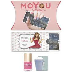 Forever21 MoYou Princess Nail Stamp Kit ($19) ❤ liked on Polyvore featuring beauty products, nail care, nail polish, nail art kit, art nail polish, forever 21 and shiny nail polish