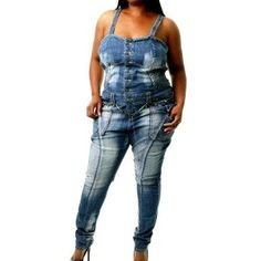 Plus Size Dereon Skinny Leg Denim Jumpsuit    SAVE 30% NOW!    $76.30