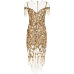 Gold Sequin Confetti And Linear Crystal Dress | Moda Operandi (€4.275) ❤ liked on Polyvore featuring dresses, brown evening gowns, beaded evening dress, brown gown, beaded ball gown and sequin feather dress