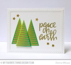 Oh Christmas Tree Stamp Set and Die-namics, Hand-Lettered Christmas Stamp Set, Stitched Rectangle Scallop Edge Frames Die-namics - Donna Mikasa  #mftstamps