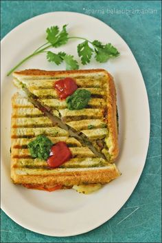 My Diverse Kitchen: Indian Street Food - The Bombay Green Chutney Sandwich (Grilled Version)