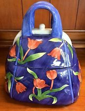 COBALT BLUE DENIM HANDBAG PURSE CERAMIC POTTERY COOKIE JAR FLOWER TULIP