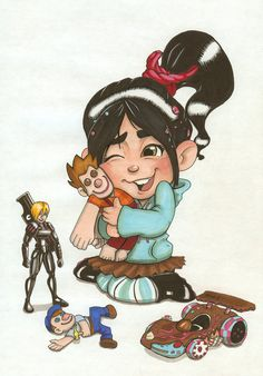 Vanellope cuddling a Ralph doll, so cute!