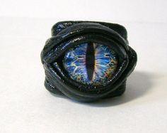 Dragon eye adjustable black leather ring. Snake by LeasBoutique, $19.99