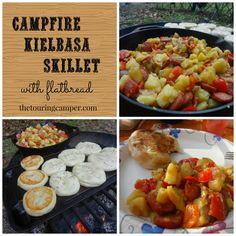 Campfire Kielbasa Skillet with Flatbread: A simple campfire meal of potatoes, kielbasa, peppers, and onions, served with a side of campfire flatbread.