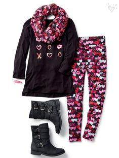 On our <3 list: heart-covered leggings + made-to- match tops and accessories!