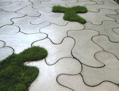 concrete slab puzzle tiles - contemporary outdoor decor by Ivanka Studio Outdoor Tiles, Outdoor Rooms, Outdoor Gardens, Indoor Outdoor, Patio Tiles, Concrete Furniture, Concrete Patio, Patio Slabs, Concrete Tiles