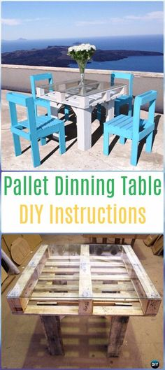 DIY Pallet Table Dinning Set Instructions - DIY Outdoor Table Ideas & Projects Free Plans