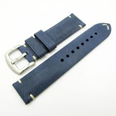87a233579c6 Vintage Style Blue Italian Genesis Calf Leather Handmade Watch Strap w   Buckle