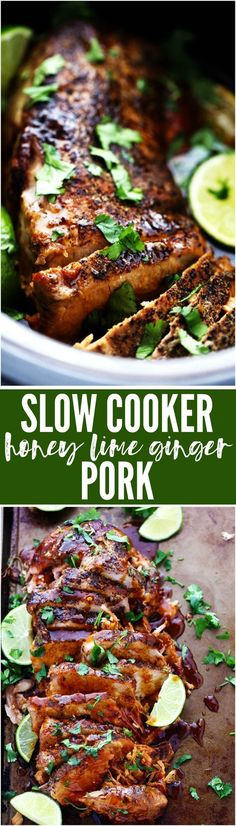 Delicious and tender pork cooked in the slow cooker with a honey, lime, soy, garlic, and ginger infused marinade!