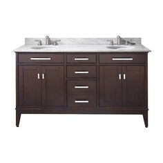 Avanity Madison 72 Inch Double Vanity with Beige Marble Top, Dual Undermount Sinks, 4 Soft Close Doors, 3 Soft Close Drawers, and Adjustable Height Levelers in Light Espresso Finish 72 Inch Vanity, 72 Vanity, Bathroom Vanity Base, Double Sink Bathroom, Double Sink Vanity, Beige Bathroom, Marble Vanity Tops, Vanity Cabinet, Bathroom Vanity Lighting