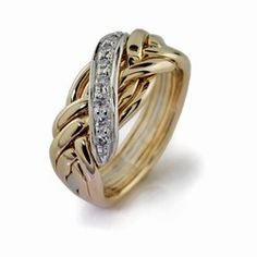 LADIES 6 band GOLD Puzzle Ring LG-6WBD-DIAMONDS $1477