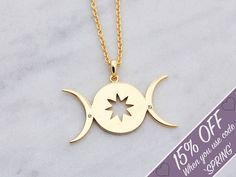 Triple Moon   Female Empowerment    Triple Goddess Moon   Jewelry   You are safe with me   Make a Wish   Galaxy Jewellery Gift  