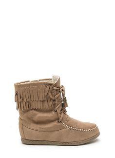 Just Right Faux Suede Moccasin Boots BLACK COGNAC - GoJane.com