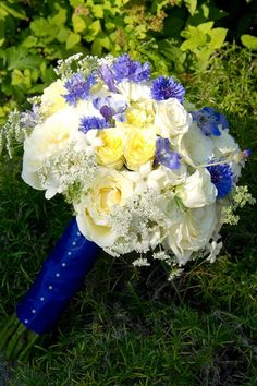 Blue, Yellow and White Spring Bouquet change out blue flowers for hydrangeas Bridal Bouquet Blue, Spring Bouquet, Bridesmaid Bouquet, Wedding Bouquets, Pretty Flowers, Yellow Flowers, Beautiful Bouquets, White Wedding Flowers, White Bridal