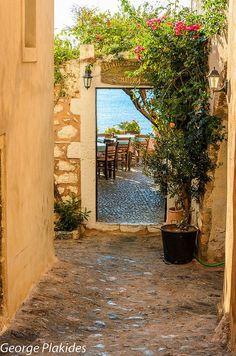 Greece Travel Inspiration - doorway to seaside eatery, Monemvasia, Greece Greece Islands, Travel Memories, Greece Travel, Santorini, Wonders Of The World, Travel Inspiration, Beautiful Places, Scenery, Places To Visit