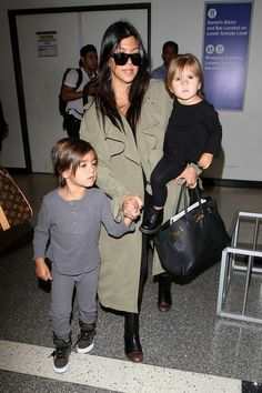 Kourtney Kardashian with daughter Penelope Disick and son Mason Disick.