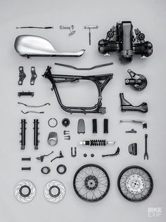 We love the 'knolling' style of photography, especially when the subject is a motorcycle. Click through to see the finished bike — it looks even better.