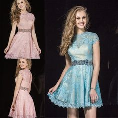 A Line Short Lace Prom Dresses With Beaded Sash Crew Short Sleeve Backless Short Party Dresses Custom Simple Elegant Homecoming Dresses Online with $99.48/Piece on Weddinggirlsdress's Store | DHgate.com