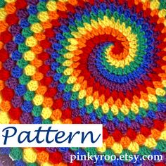 PDF Pattern to purchase for Rainbow Spiral Granny Blanket by Pinkroo on Etsy. 🍴 🍴PDF Pattern to purchase for Rainbow Spiral Granny Blanket by Pinkroo on Etsy.This is the digital PDF pattern for the Rainbow Spiral Granny Blanket. NO print pattern or Spiral Crochet Pattern, Crochet Motifs, Afghan Crochet Patterns, Crochet Stitches, Knitting Patterns, Granny Pattern, Knitting Projects, Tutorial Crochet, Crochet Afghans