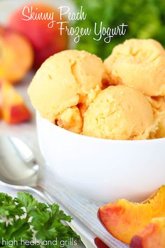 Skinny Peach Frozen Yogurt. Healthy dessert recipe that tastes so naughty. http://www.highheelsandgrills.com/2014/06/skinny-peach-frozen-yogurt.html