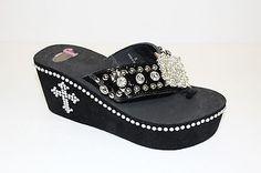 Justin Flip Flops - Peyton - Women's Bling Western Rhinestone Black 5510901.  Because You Just Can't Get Enough BLING!!!
