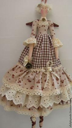Куклы Тильды ручной работы. Ярмарка Мастеров - ручная работа Кукла в стиле Тильда-ангел кофейный. Handmade.