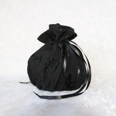 Black floral embroidery pattern pompadour purse evening handbag wristlet drawstring reticule by AlicesLittleRabbit on Etsy