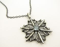 Snowflake Necklace Topaz and Antiqued Silver by wexfordjewelers. $189.00, via Etsy.