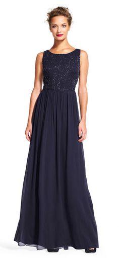 Adrianna Papell   Sleeveless Chiffon Dress with Geometric Beaded Bodice