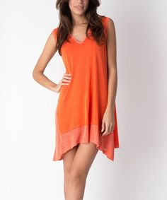 Look what I found on #zulily! Orange Asymmetric-Hem V-Neck Dress #zulilyfinds