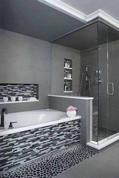Modern bathroom design 441563938446383870 - 'Charcoal' Black Sliced pebble tile – Black and White Tiled Bathroom- Walk in glass shower- Modern and Contemporary Bathroom- Source by Master Bathroom Shower, Paint Bathroom, Bathroom Stand, White Bathroom, Bathroom Modern, Contemporary Bathrooms, Bathroom Caulk, Bathroom Heater, Cozy Bathroom
